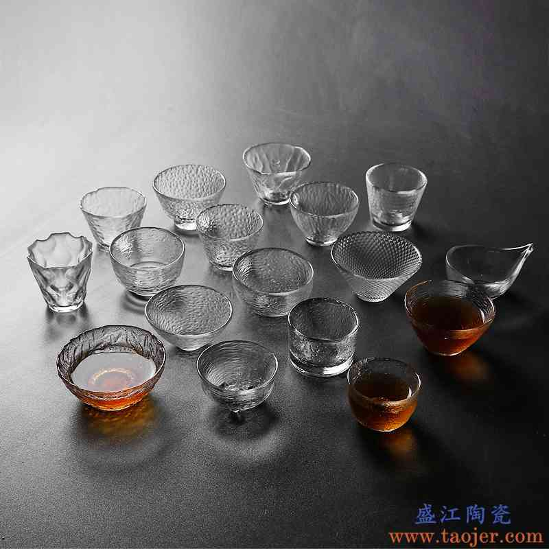 瓷恒堂加厚耐热玻璃锤纹品茗杯透明茶杯功夫茶具主人杯茶碗家用