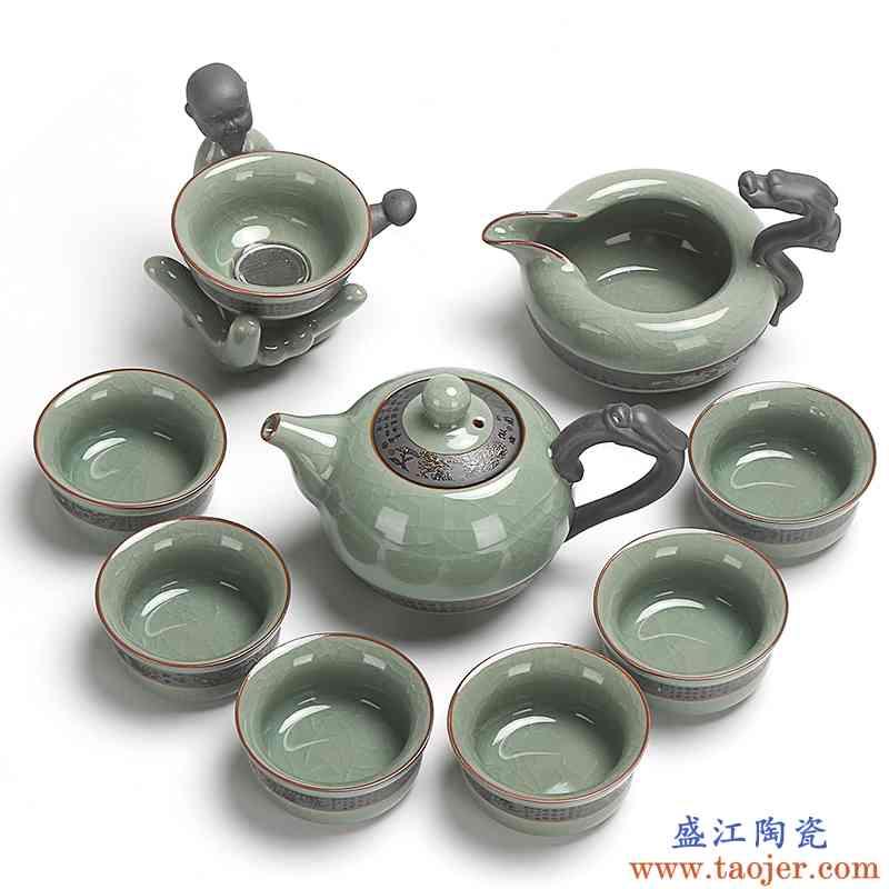 真盛 整套功夫茶具套装 陶瓷哥窑茶壶茶杯子冰裂釉开片可养包邮