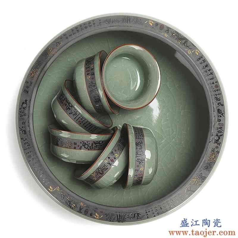 真盛 陶瓷 哥窑茶洗笔洗水孟功夫茶具配件 水洗杯洗大号鱼缸盆