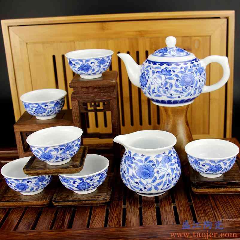 景德镇高档手绘青花瓷釉下彩功夫茶具整套装 手工绘画8头缠枝莲