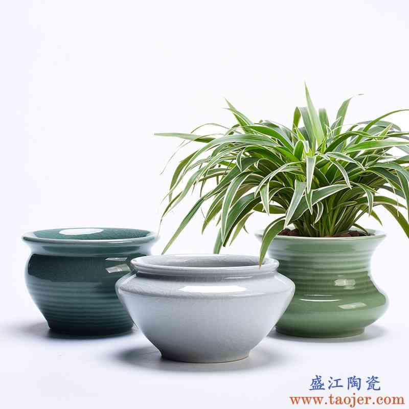 家用绿植兰花盆哥窑陶瓷粗陶透气多肉植物蝴蝶兰专用绿萝吊兰花盆