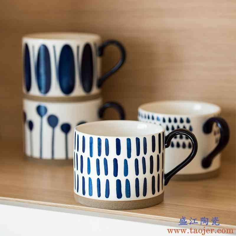 蓝彩早餐杯大容量釉下彩手绘陶瓷马克杯燕麦杯矮胖北欧ins牛奶杯
