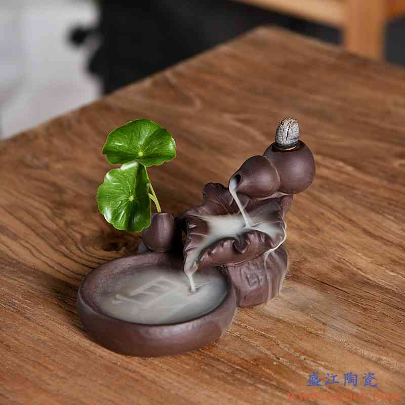 紫砂倒流香炉禅莲檀香炉熏香家用室内沉香仿古线香炉香道创意摆件