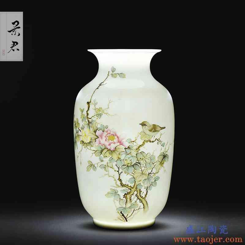 景德镇手工陶瓷器复古中国风客厅插花花瓶摆件中式工艺装饰品摆设