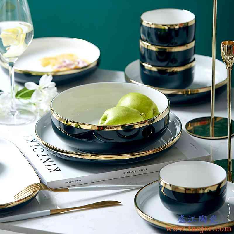 北欧轻奢碗碟套装家用景德镇陶瓷碗网红餐具ins碗盘筷组合