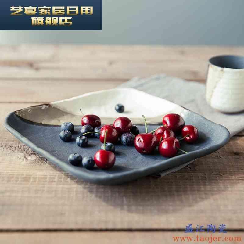 5ZF新品日式餐具陶瓷盘子窑变釉工艺平盘家用大方盘酒店餐具供应