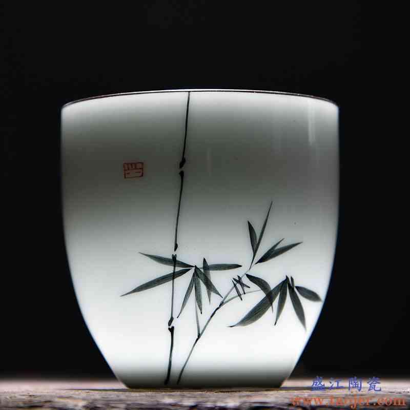 手绘荷花小茶杯单只薄胎白瓷品茗杯陶瓷功夫茶杯单个主人杯单杯