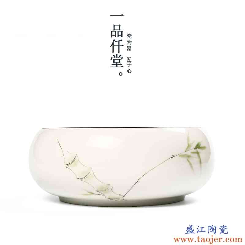 一品仟堂 手绘釉下彩茶洗手工陶瓷水盂复古笔洗茶道配件水洗茶具