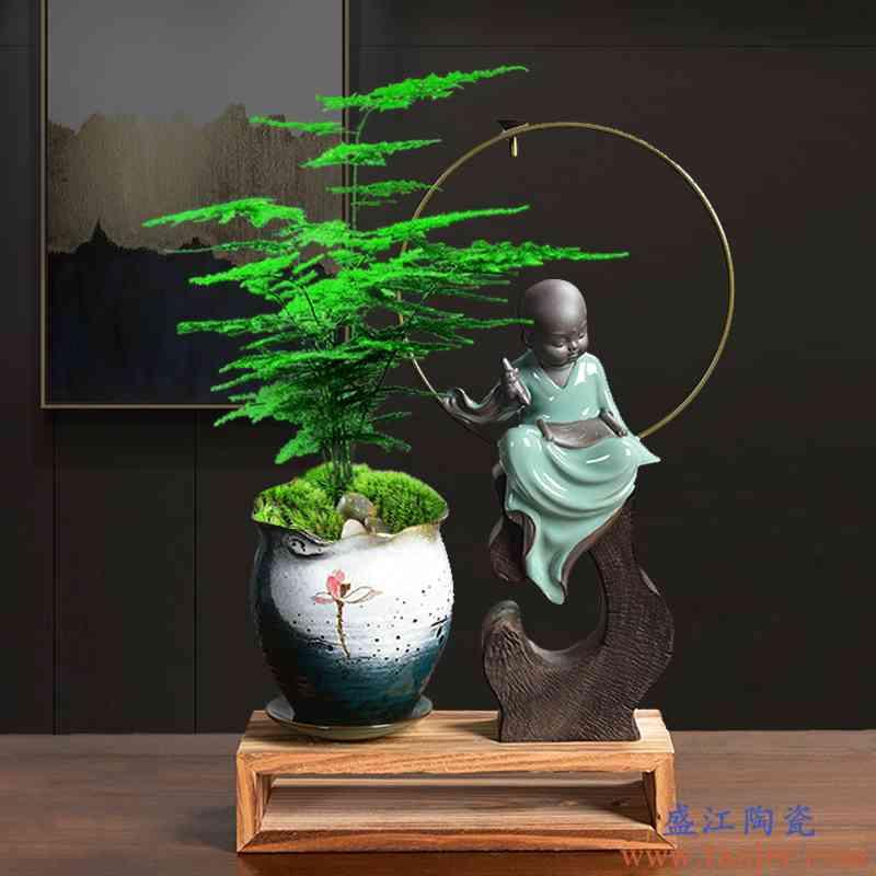 陶瓷翡翠手彩透气花盆佛像摆件新品组合托盘紫砂胎蝴蝶兰文竹专用