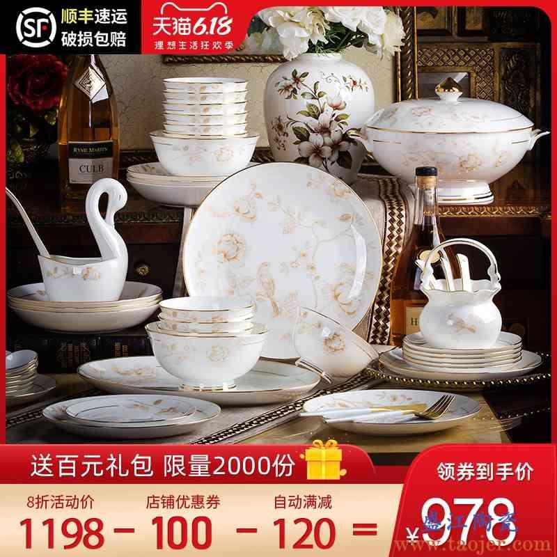 欧式景德镇餐具套装碗盘家用高档骨瓷简约瓷器碗碟套装 家用