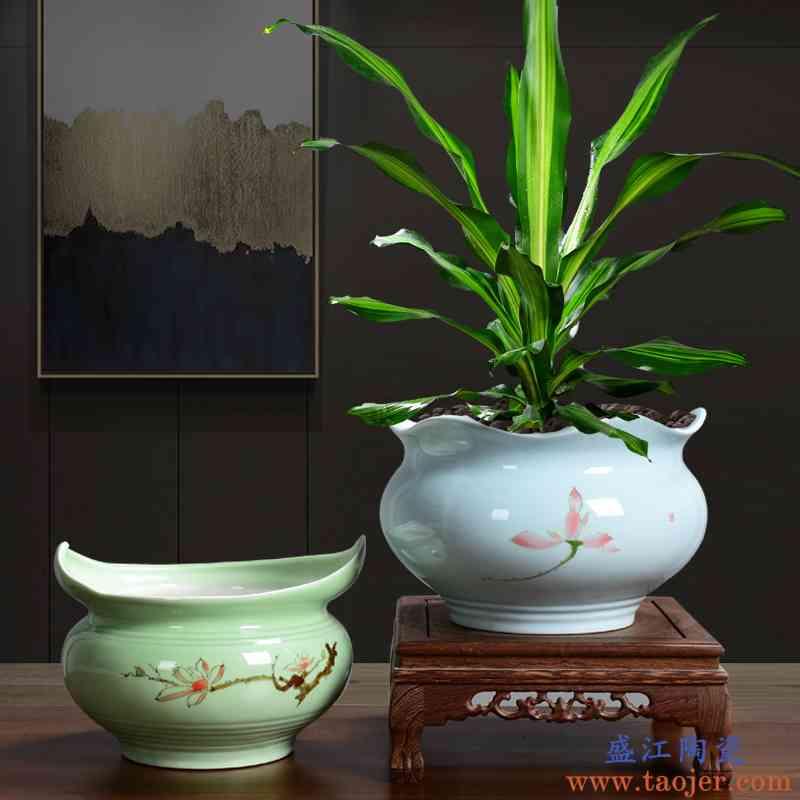 红枫树金钱树红掌清香木专用陶瓷带底座托盘大号创意个性手彩花盆