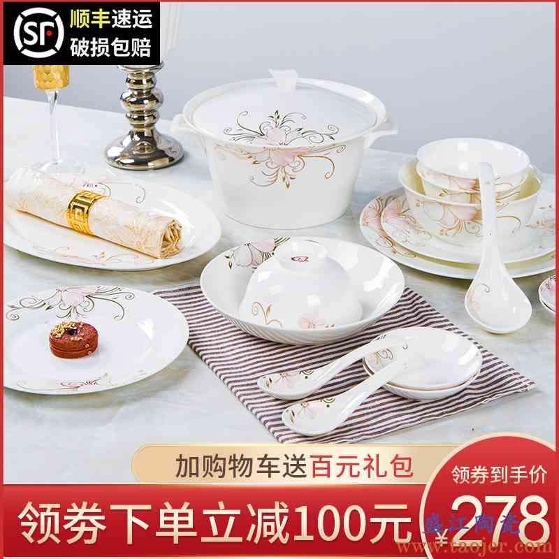 餐具套装 家用简约 景德镇陶瓷骨瓷碗碟套装组合