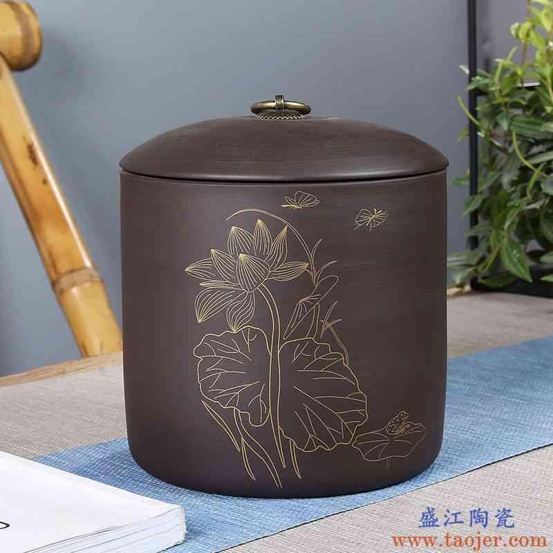 陶瓷中号大号茶叶罐密封储物罐储存普洱茶仓茶盒茶缸红绿茶包装盒