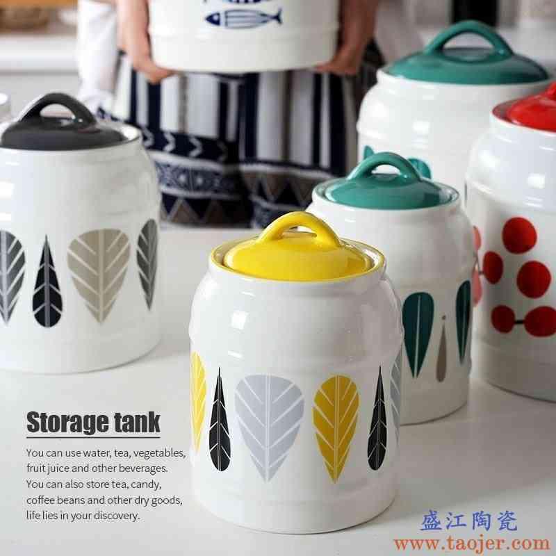 陶瓷密封罐大号米酒坛子带盖猪油罐家用厨房收纳罐房潮杂粮罐