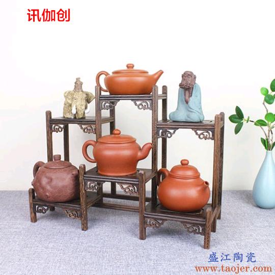 实木茶杯架子茶道茶饼架小博古架茶柜收纳置物架普洱紫砂茶壶茶具