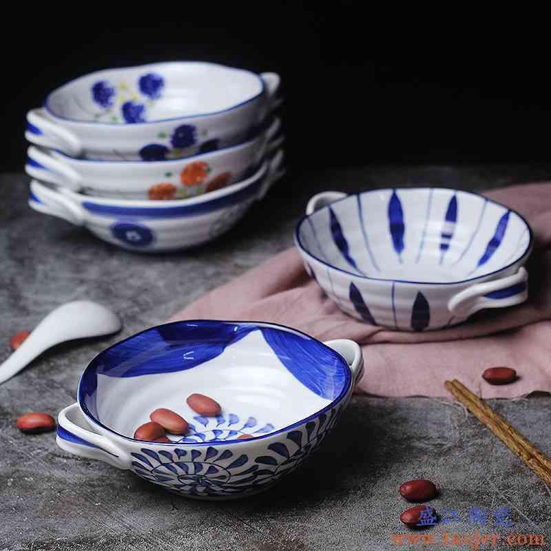 兰花瓷碗青花瓷日式餐具焗饭拉泡面家用仿复古7.5寸韩式陶双耳汤