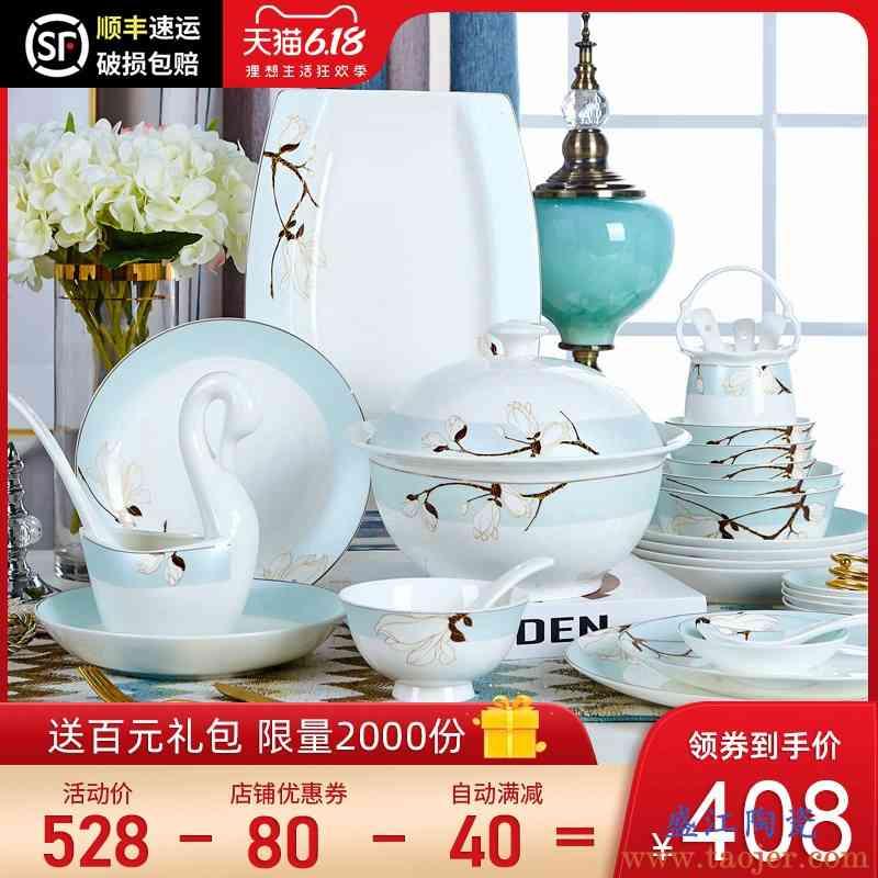 餐具套装景德镇骨瓷餐具家用北欧创意耐热陶瓷碗盘58头碗碟 新款