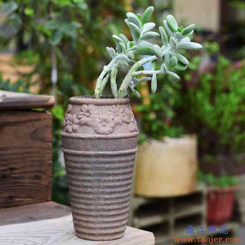 个性创意陶瓷吊兰花盆家用办公室桌面绿植盆器粗陶透气高款多肉盆