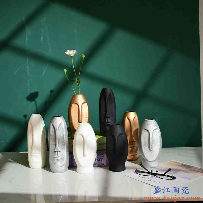水养植物绿萝铜钱草水培花盆创意干花插花装饰品桌面摆件陶瓷花瓶