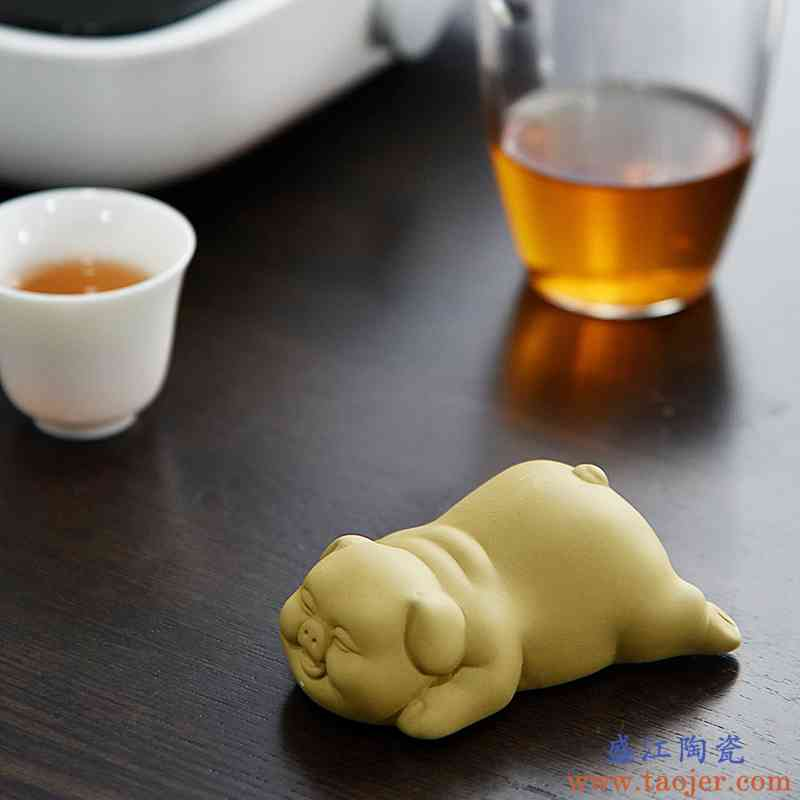 紫砂小猪狗兔大象紫砂茶宠摆件精品可养手工陶瓷茶具创意迷你可爱