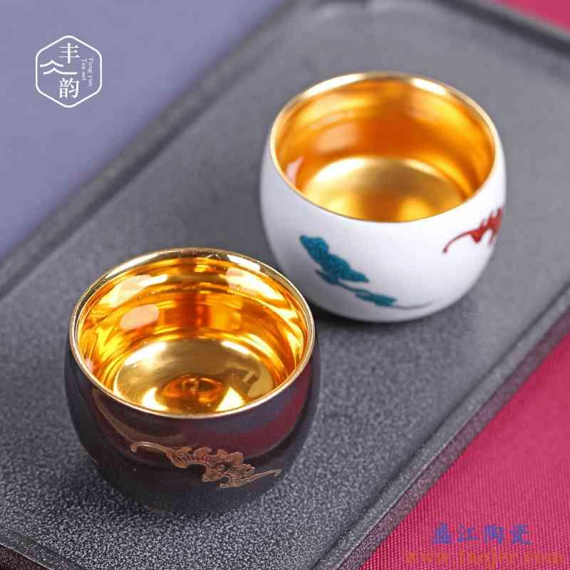 鎏金陶瓷茶杯手工茶具家用功夫主人杯单个茶盏泡茶品茗杯个性创意