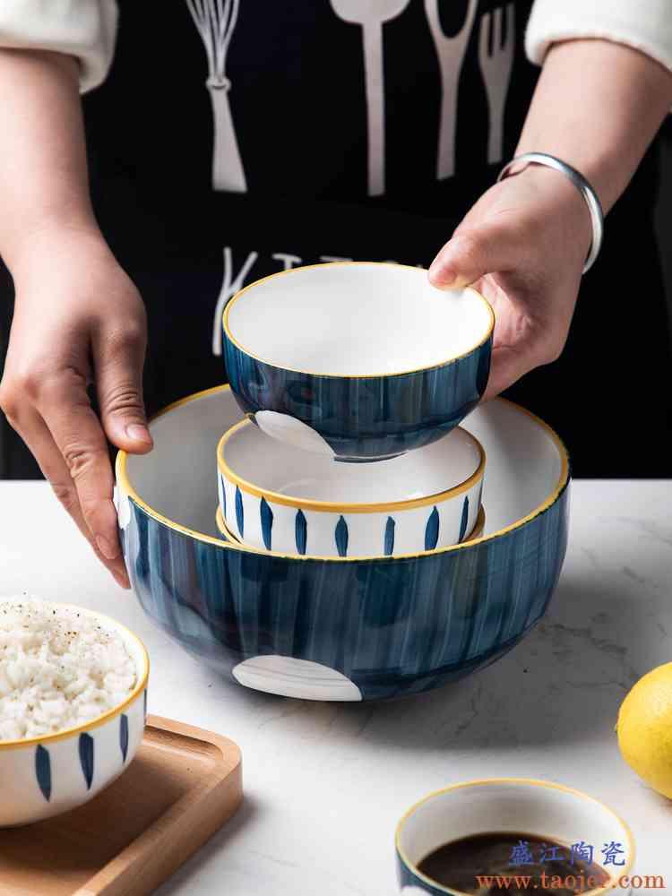 青瑶日式创意手绘饭碗沙拉碗陶瓷斗笠碗家用单个汤碗面碗