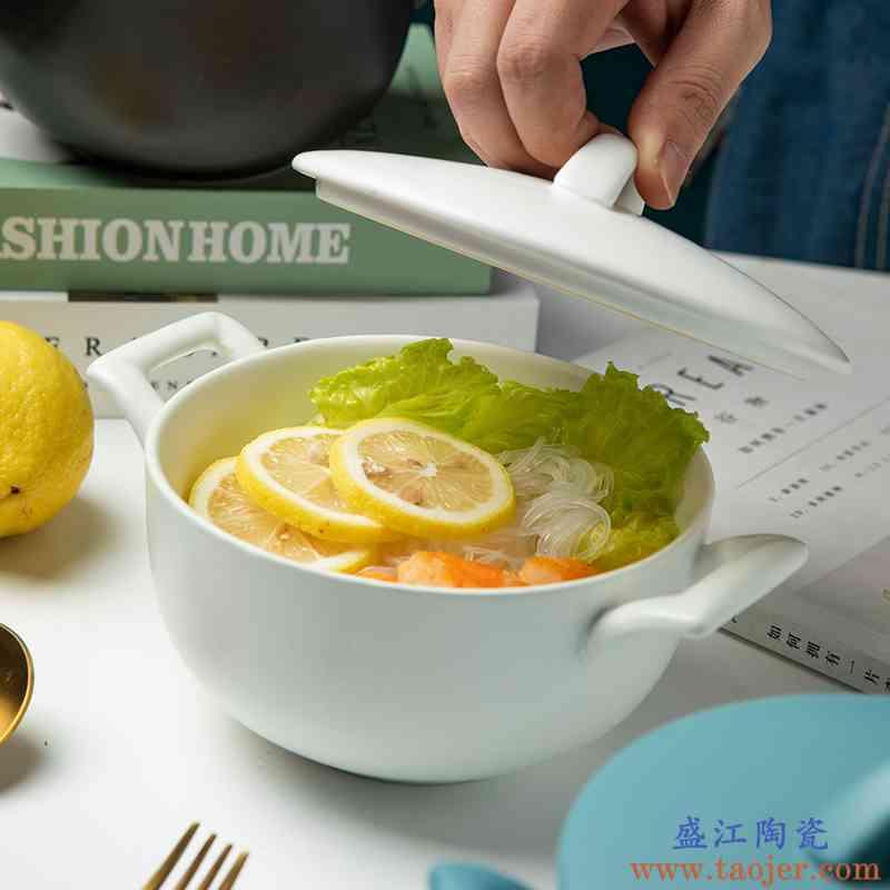 北欧风陶瓷双耳带盖泡面碗单个大汤碗可爱女网红ins创意碗