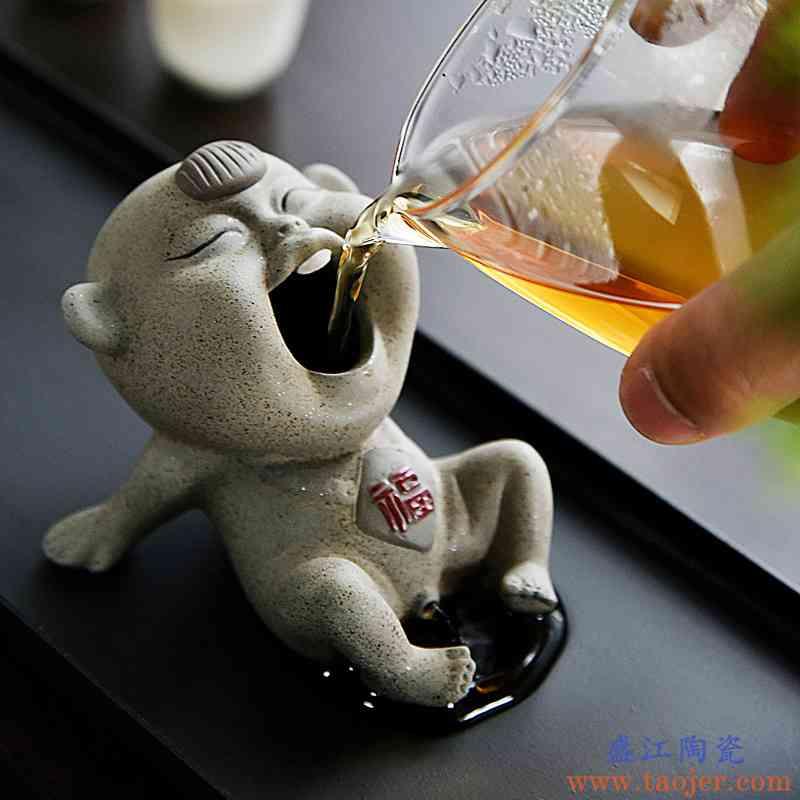 茶宠陶瓷摆件撒尿紫砂喷水创意茶艺茶具茶道趣玩宜兴摆设小尿童娃