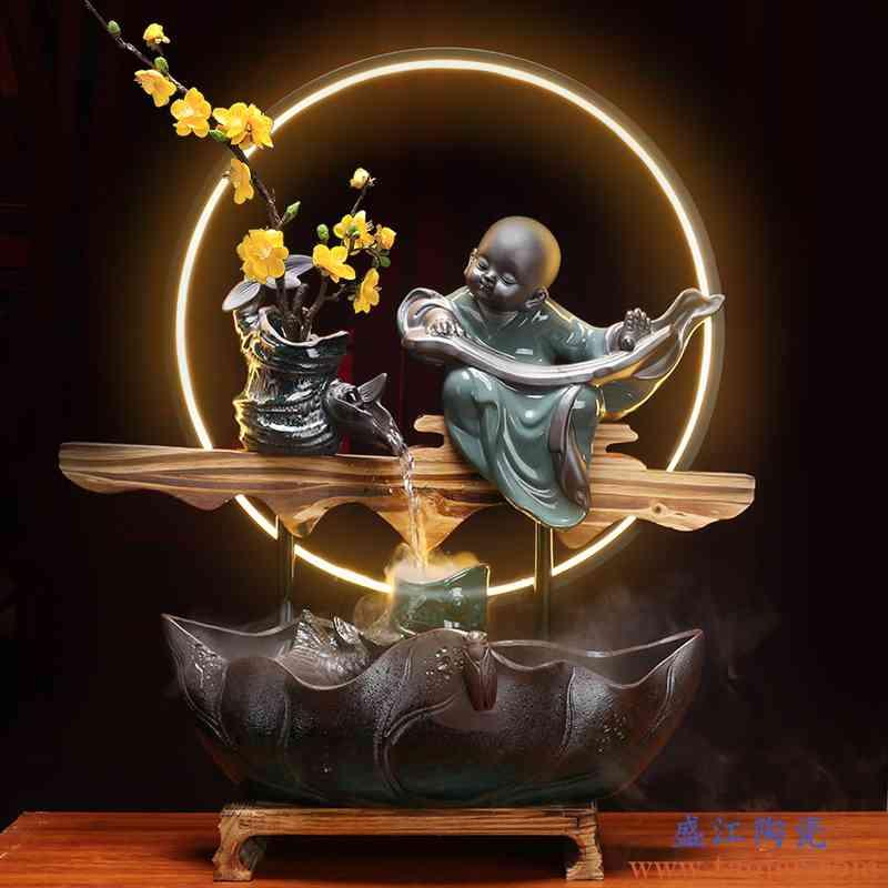 新中式陶瓷流水器客厅办公软装流水摆件DIY配件雾化加湿养鱼水缸