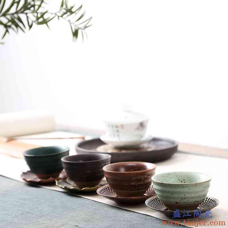 复古手工粗陶茶杯单个茶碗家用功夫茶具主人杯复古中式陶瓷小杯子
