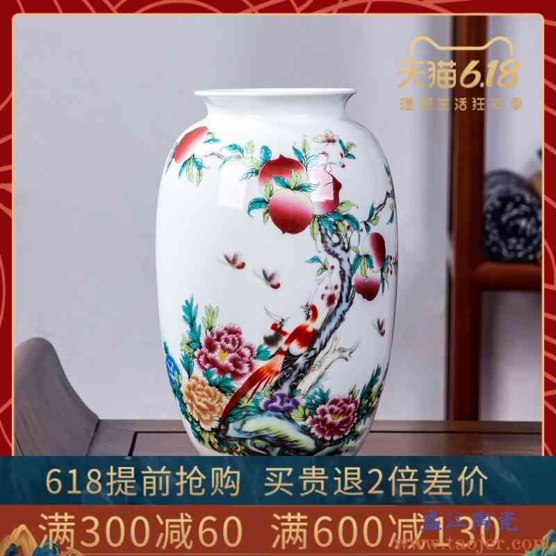 景德镇手绘粉彩冬瓜瓶陶瓷器仿古重工中式客厅玄关装饰工艺品摆件