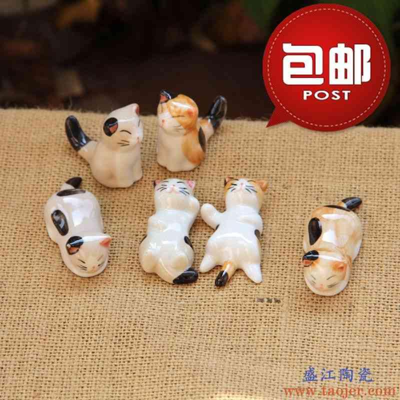 日式包邮陶瓷猫咪筷子架创意筷托桌面笔托工艺品摆件zakka精品