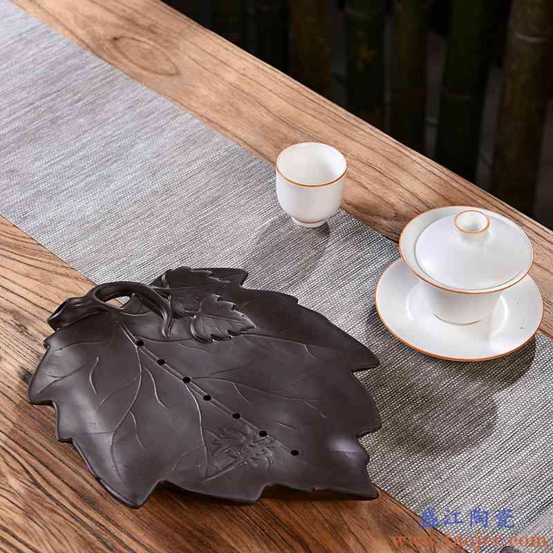 干泡茶盘茶台陶瓷家用枫叶荷花创意储水茶海小茶台茶具套装托盘