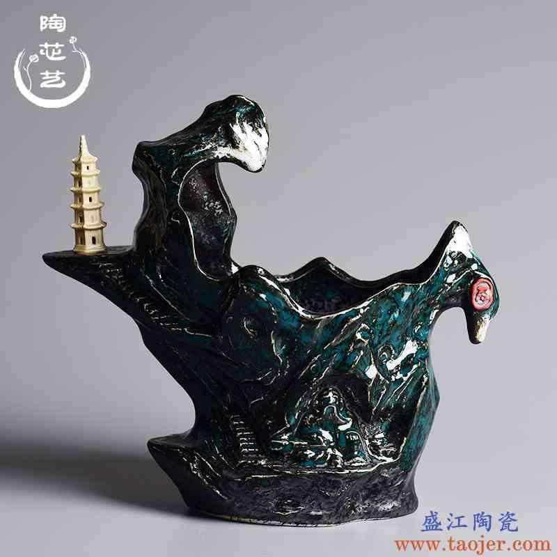 花盆创意陶瓷个性桌面绿植文竹植物盆栽盆器中国风假山造景盆景盆
