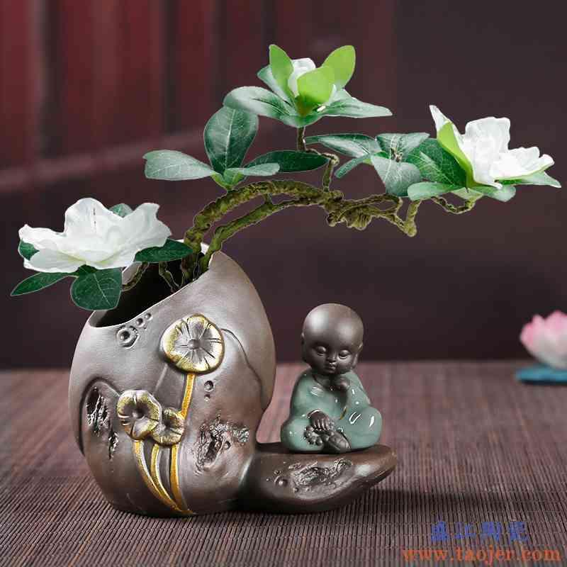 干鲜花陶瓷小花瓶花插新中式客厅卧室装饰摆件工艺品清新玻璃花器