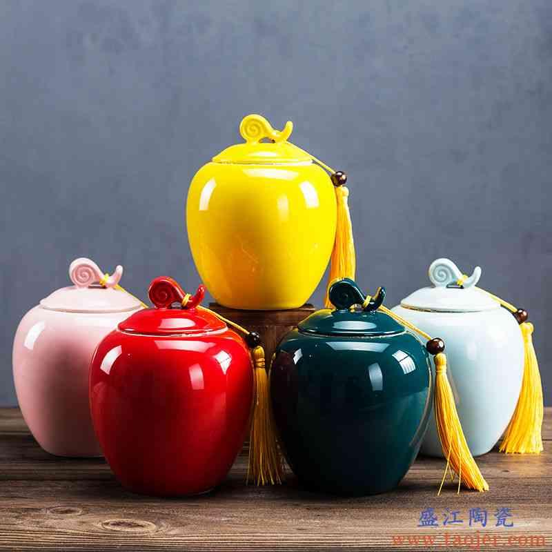 陶瓷茶叶罐中号口大密封储物罐普洱茶仓醒茶器红茶茶盒粗陶茶叶罐