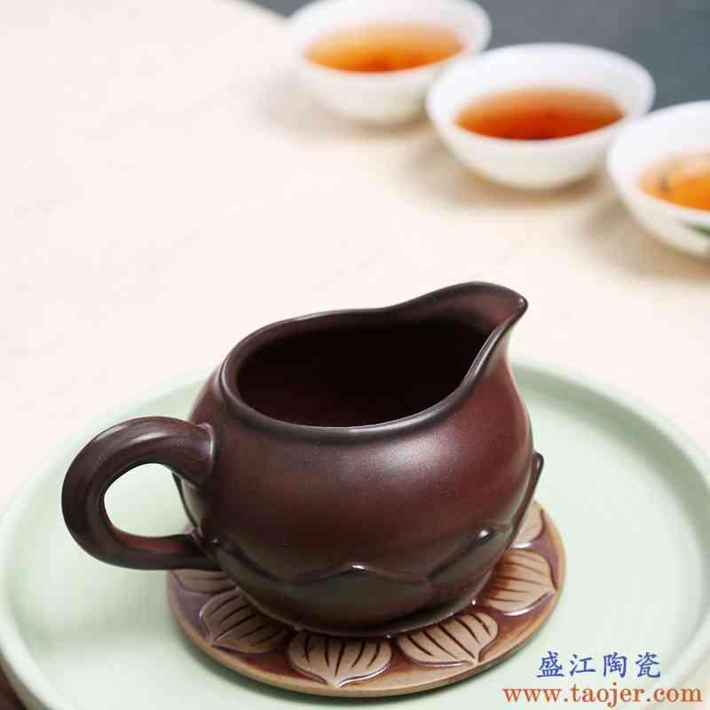 窑变仿古粗陶柴烧功夫茶具手工陶瓷分茶器日式茶道公道杯陶泥茶海