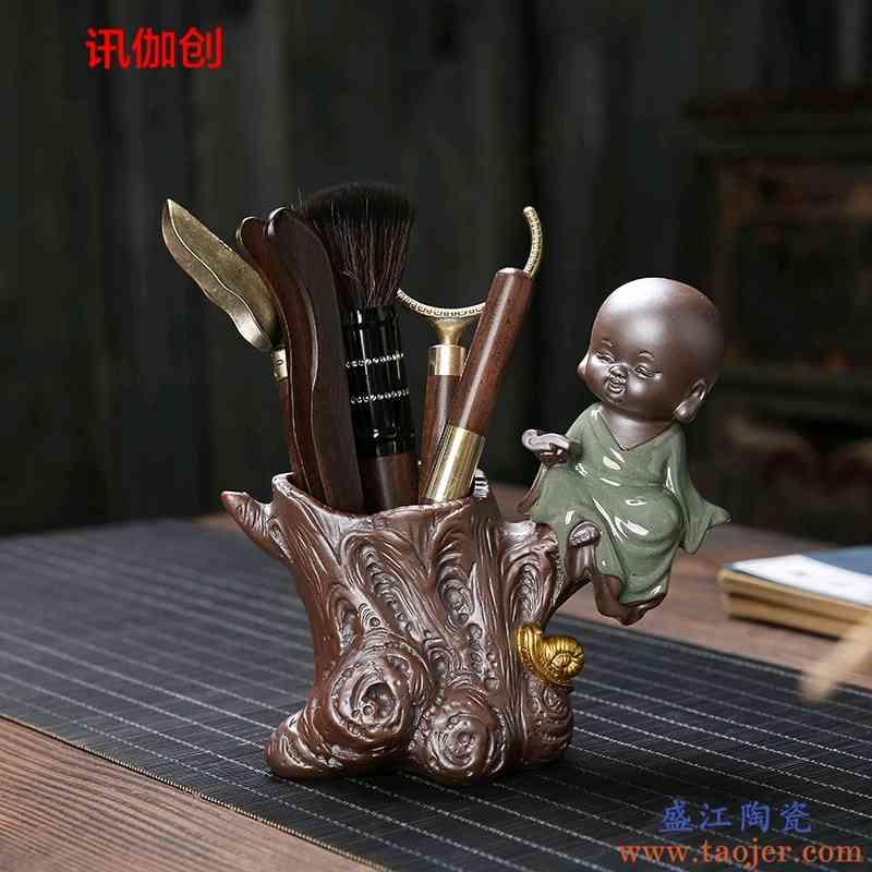 创意茶具配件功夫套装紫砂茶宠摆件小和尚实木茶道陶瓷笔筒