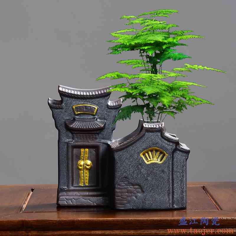 陶瓷个性文竹发财树植物中国风绿萝简约带托盘创意小房子花盆专用