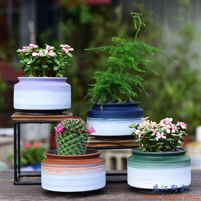陶瓷简约家用小花盆创意办公室绿植多肉盆仙人球肉肉植物紫砂花盆