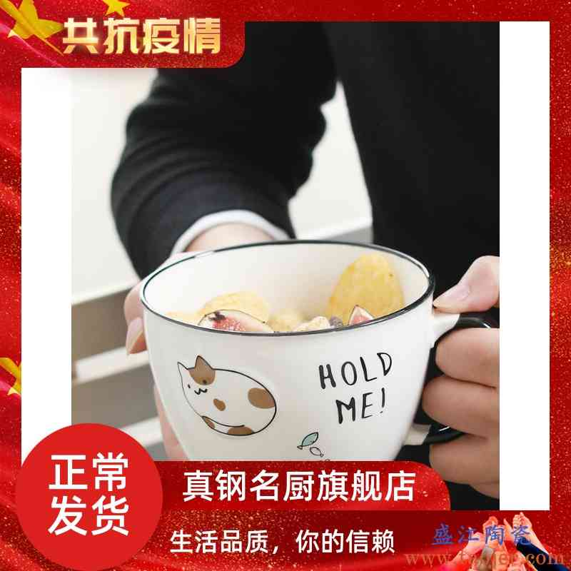 彩色卡通陶瓷碗可爱带盖单个带有手柄的小号泡面糖果色创意搪瓷碗