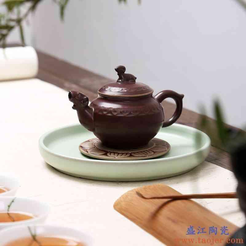 窑变复古柴烧茶壶茶具紫砂壶纯手工原矿段泥茶壶泡茶壶茶具家用