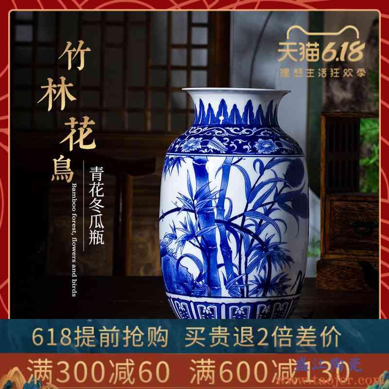景德镇手绘青花瓷花瓶陶瓷器客厅电视柜家居装饰工艺品瓷器摆件