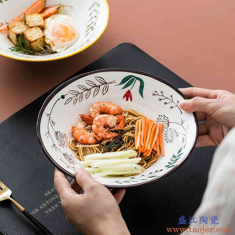 碗釉下彩家用水果沙拉碗可爱儿童点心甜品碗日式卡通动物陶瓷汤面