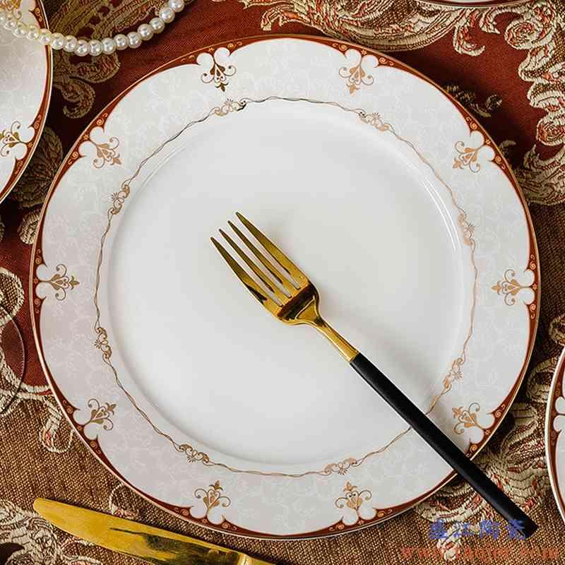 巧慕景德镇骨瓷餐具套装中式陶瓷碗碟套装家用日式碗盘子韩式碗筷