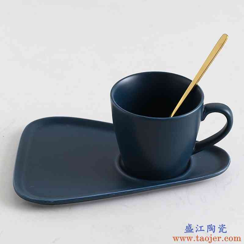 彩柚ins风简约咖啡杯带盖勺套装欧式小奢华英式茶杯陶瓷杯子
