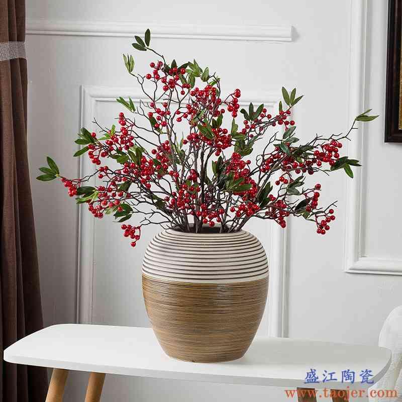 台面陶瓷花瓶玄关客厅酒店摆件干花插花现代简约家居花器装饰摆设