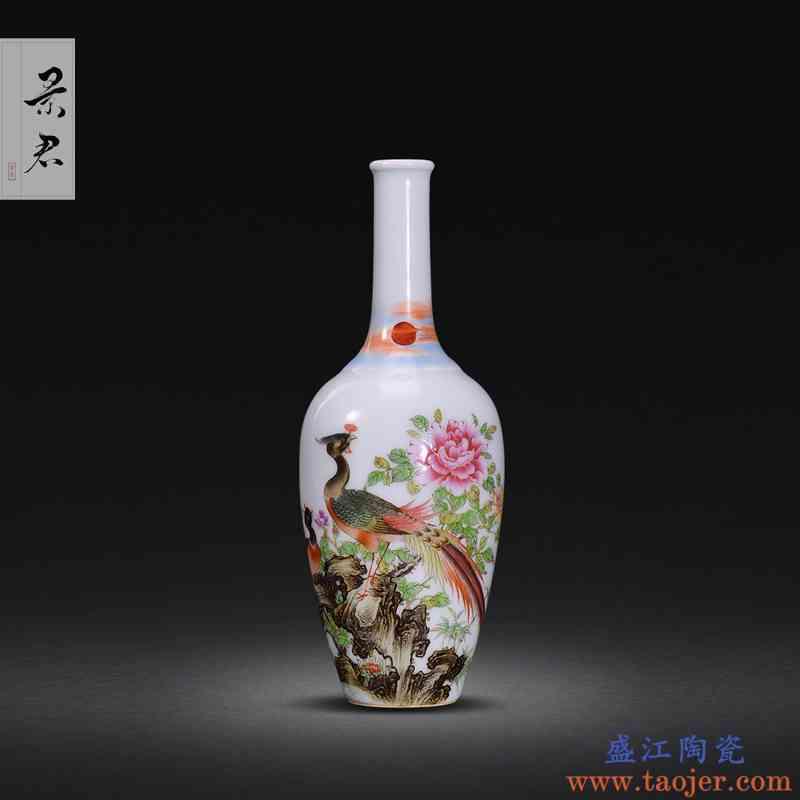 景德镇手绘珐琅彩花瓶摆件客厅插画仿古花瓶摆件瓷器陶瓷摆件