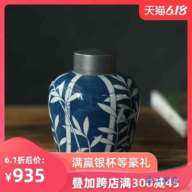 友爱 弥云斋景德镇青花陶瓷手绘问竹茶入锡盖锡口密封罐茶叶罐