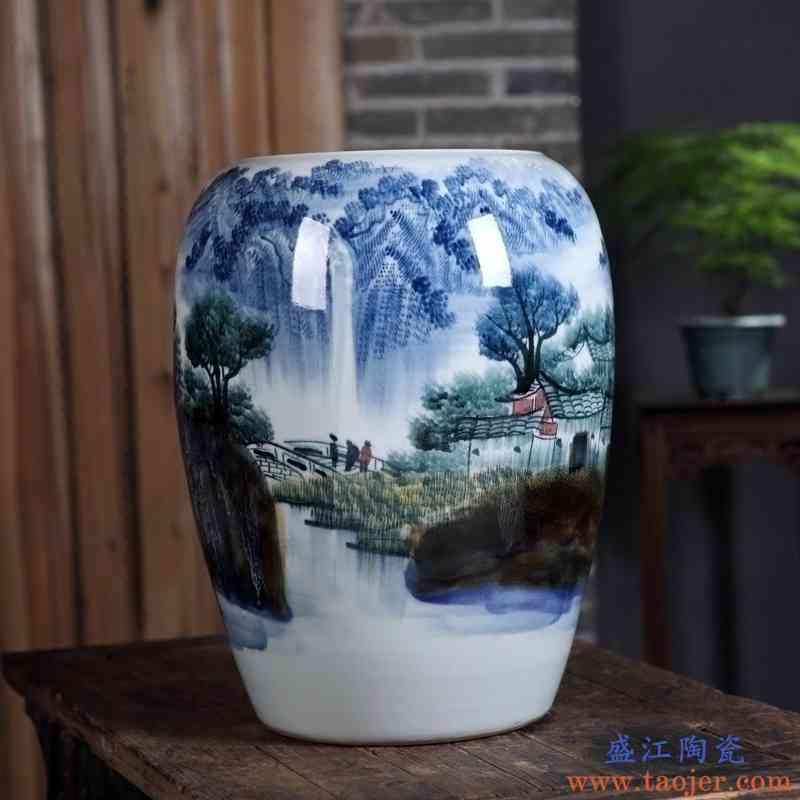 景德镇陶瓷器花瓶摆件 名家手绘窑变山水图画筒新中式玄关装饰品